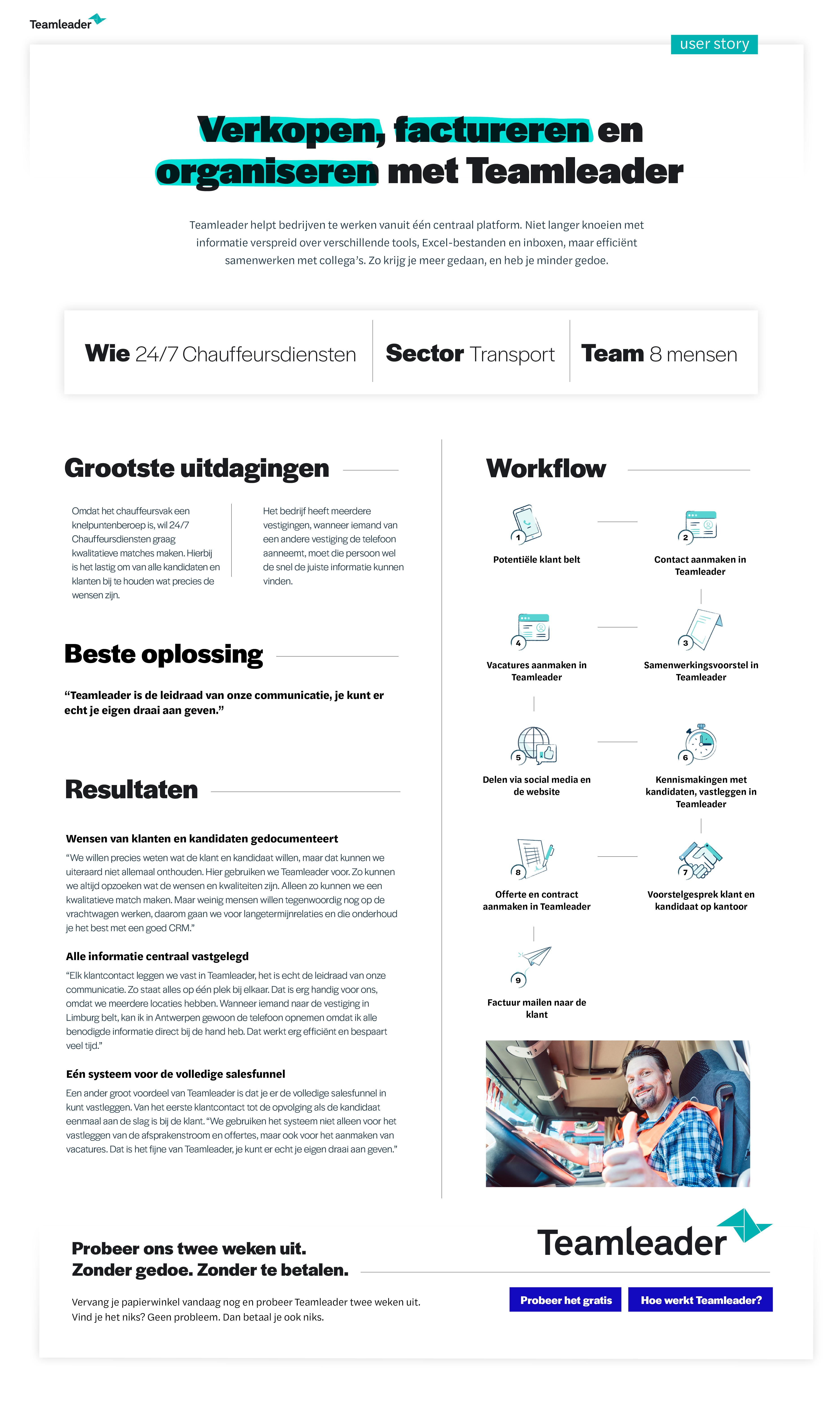 Usercase 24/7 Chauffeurdiensten