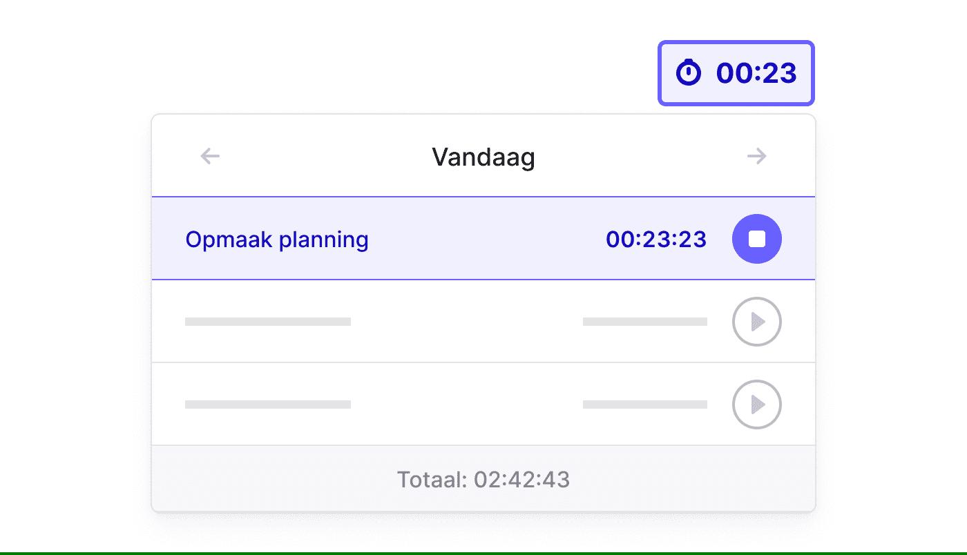 BE NL Registreer nauwgezet met de Time Tracker