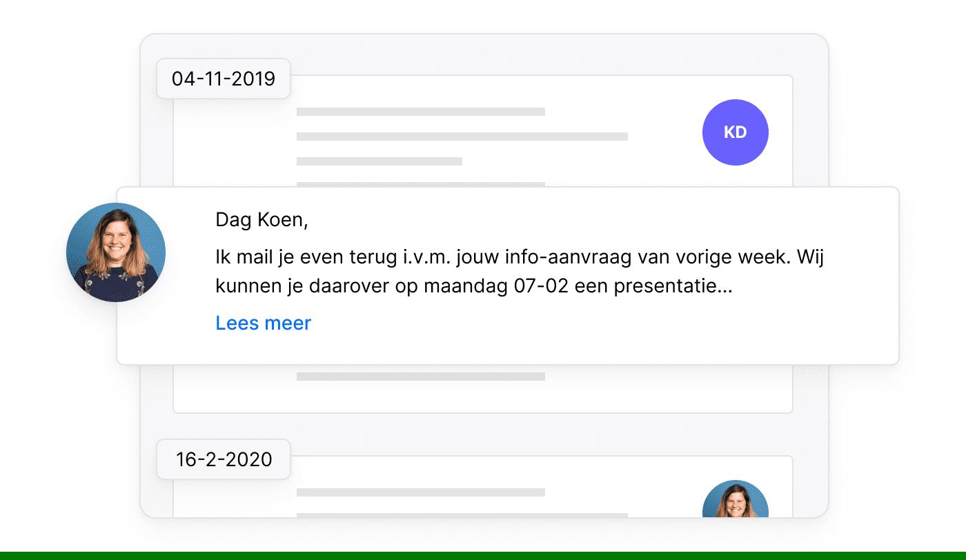 NL NL De communicatiegeschiedenis per klant