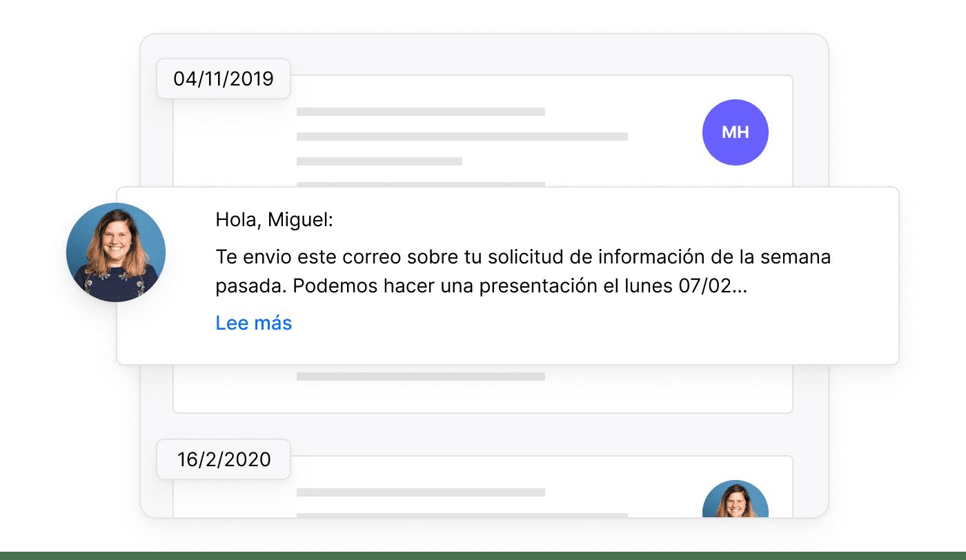 ES De communicatiegeschiedenis per klant